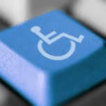 Making your website accessible depicted by the image of a disability symbol on a computer key.