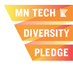 The logo for the Minnesota Tech Diversity Pledge, which has the words on an orange ribbon with a shape of a Minnesota map.