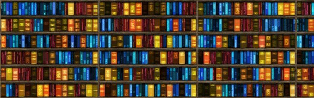 Accessibility Research Library depicted by a banner of numerous library books on a shelf.