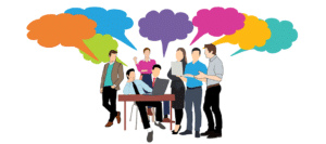 Illustration of business people gathered around a table with dialogue clouds over their heads.