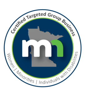"Logo for the Certified Targeted Group Business MN, showing a map of Minnesota with two letter ""M""s in front of it.  The words, ""women, minorities, individuals living with disabilities"" is at the bottom."