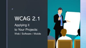 WCAG 2.1 Applying it to Your Projects image with a trainer teaching students in a classroom.
