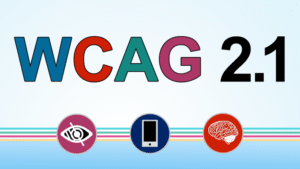 Image with the text WCAG 2.1 and icons of an eye, a cell phone, and a brain.