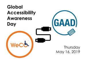 WeCo Global Accessibility Awareness Day banner: the WeCo and GAAD logos connected by a circuit with the name and date of the event.