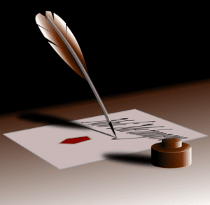 Quill pen writing a signature on a page, representing the signing of the ADA.