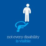 Illustration of a stick person standing with a wheelchair disability symbol as their shadow. Tagline: not every disability is visible.