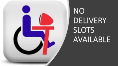 "A stick person in a wheel chair seated at a computer with words, ""No delivery slots available."""