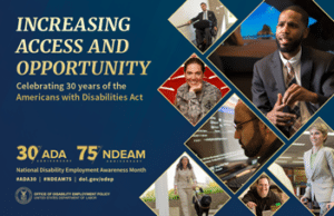 """NDEAM 2020 official poster. """"Increasing Access and Opportunity, Celebrating 30 years of the ADA."""" Several photos in diamond shapes."""