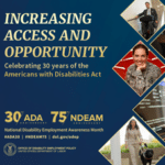 "NDEAM 2020 poster: ""Increasing Access and Opportunity"" with three photos in diamond shapes."