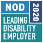 NOd Leading Disability Employer 2020 written in a variety of teal sections, making a square.