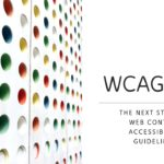 """Image with multi-colored dots on a grid and the words, """"WCAG 2.2: the next step for Web Content Accessibility Guidelines."""""""